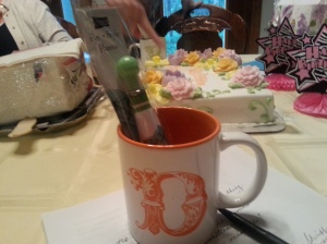 Fat flowery pen and initial mug from Karen